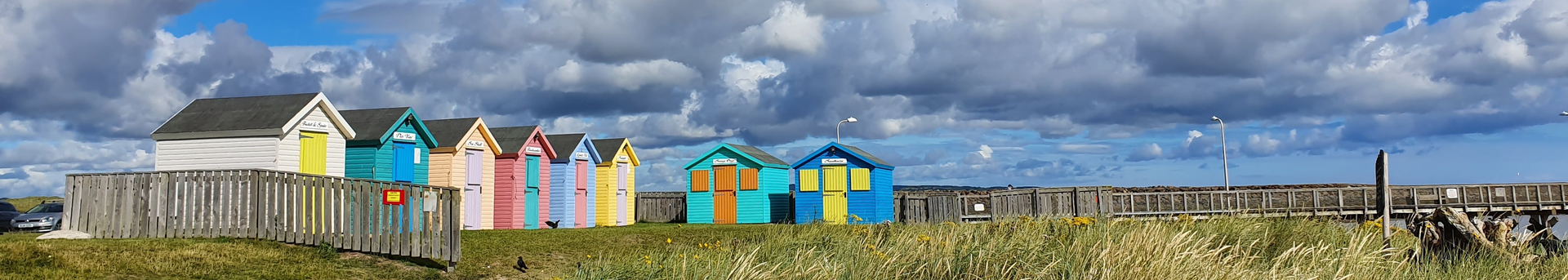 Beach huts at Amble, Northumberland