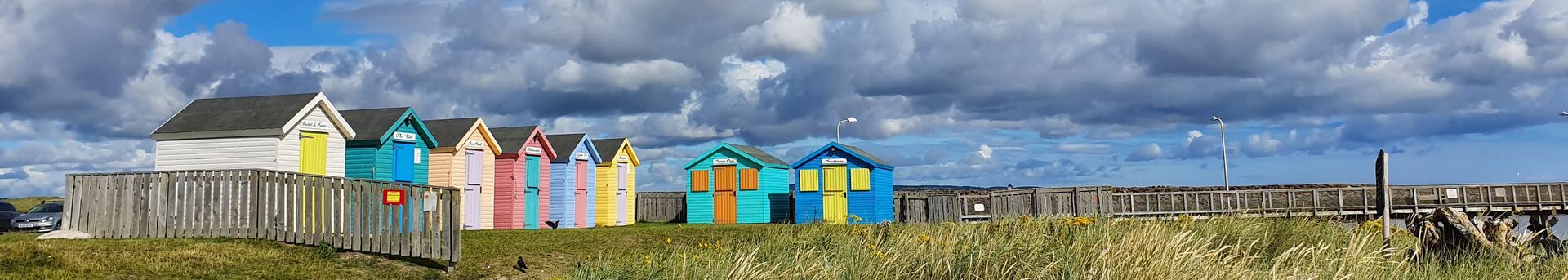 Beach huts at Amble, Northumberland